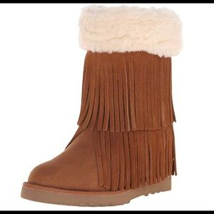 MADDEN GIRL cognac fringed wedge heel boot